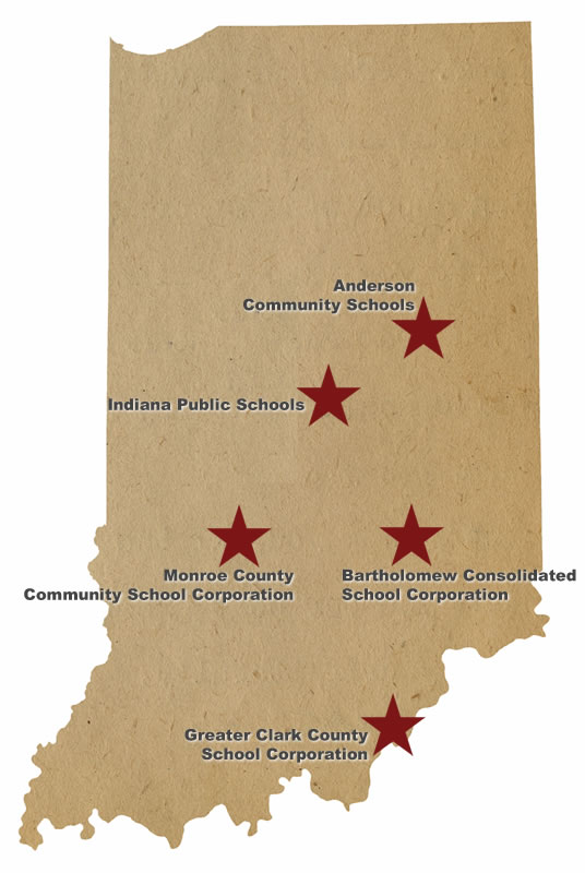 indiana map with 5 implementation districts